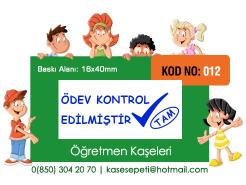 Öğretmen Kaşeleri Kod 012